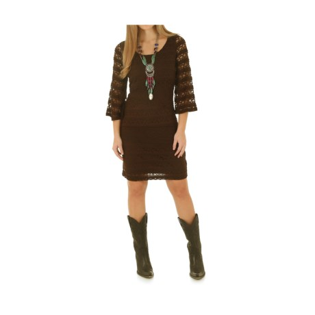 Wrangler Layered Lace Dress - 3/4 Sleeve (For Women) in Brown
