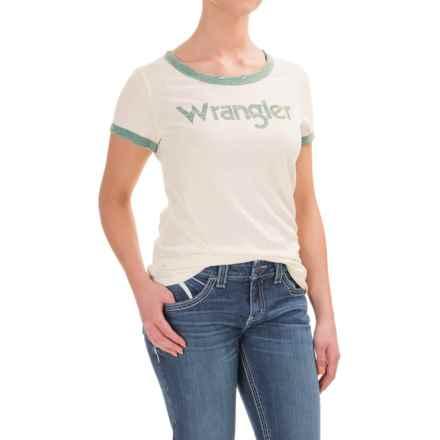 Wrangler Logo Ringer T-Shirt - Cotton Blend, Short Sleeve (For Women) in Off White/Green Heather - Closeouts