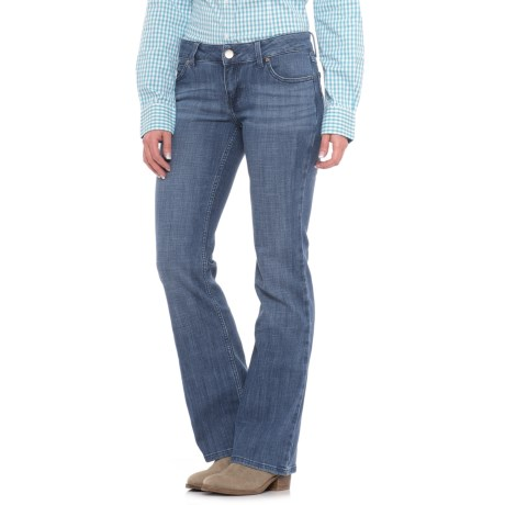 Wrangler Mae Low-Rise Jeans - Bootcut, Stretch Denim (For Women) in Mid Blue