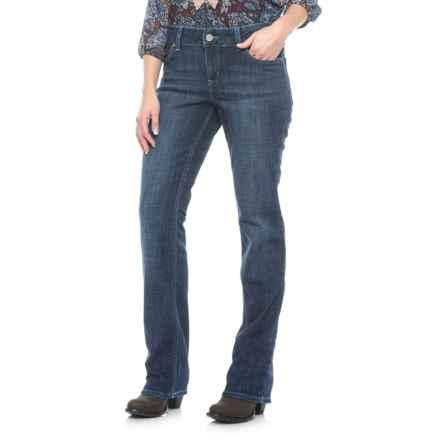 Wrangler Mae Premium Denim Jeans - Low Rise, Straight Leg (For Women) in Dark Blue Wash - Closeouts