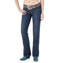 Wrangler Mae Premium Patch Jean - Low Rise (For Women) in Dark Denim Wash - 2nds
