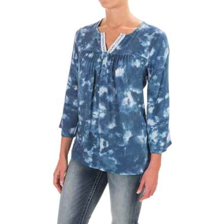 Wrangler Notched Neckline Shirt - Rayon, 3/4 Sleeve (For Women) in Denim Blue/White - Closeouts