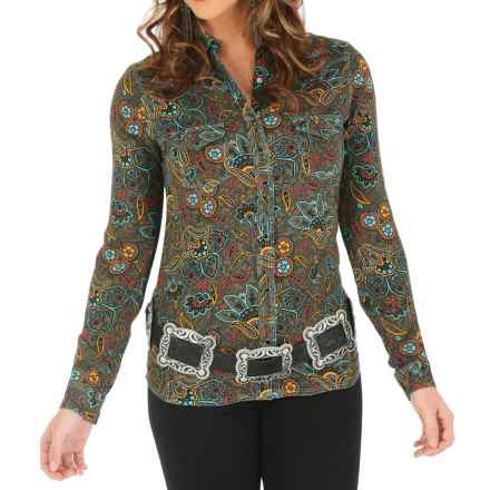 Wrangler One-Point-Yoke Printed Western Shirt - Snap Front, Long Sleeve (For Women) in Olive/Turquoise - Closeouts