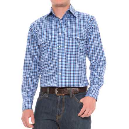 Wrangler Poplin Plaid Shirt - Snap Front, Long Sleeve (For Men) in Blue Plaid - Closeouts