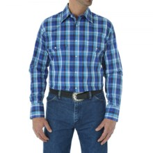 Wrangler Poplin Plaid Wrinkle-Resist Western Shirt - Snap Front, Long Sleeve (For Men and Big Men) in Blue Multi - Closeouts