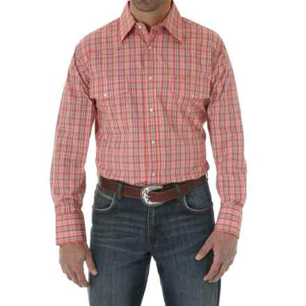 Wrangler Poplin Plaid Wrinkle-Resist Western Shirt - Snap Front, Long Sleeve (For Men and Big Men) in Orange/White - Closeouts
