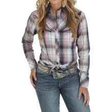 Wrangler Premium Fancy Front and Back Shirt - Snap Front, Long Sleeve (For Women) in Navy/Blush/White - Closeouts