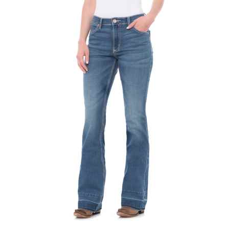 Wrangler Premium Patch Mae Jeans - Flare Leg (For Women) in Medium Blue - Closeouts