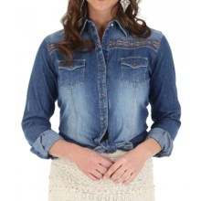 Wrangler Premium Patch Western Shirt - Snap Front, Long Sleeve (For Women) in Denim - Closeouts
