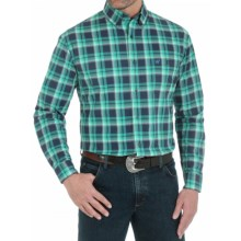 Wrangler Premium Performance Advanced Comfort Plaid Sport Shirt - Button Down, Long Sleeve (For Men) in Green/Navy - Closeouts