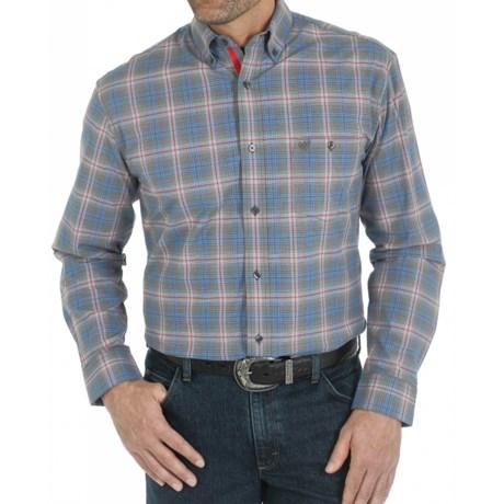 Wrangler Premium Performance Advanced Comfort Plaid Sport Shirt Button Down, Long Sleeve (For Men)