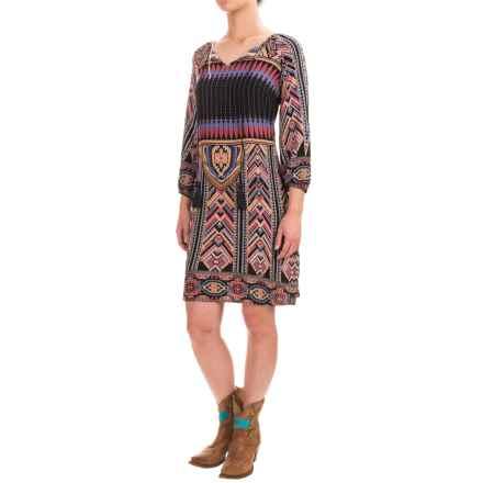 Wrangler Printed Boho Dress - 3/4 Sleeve (For Women) in Wine Multi - Closeouts