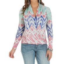Wrangler Printed Sweater - Surplice Front (For Women) in Coral/Turquoise - Closeouts