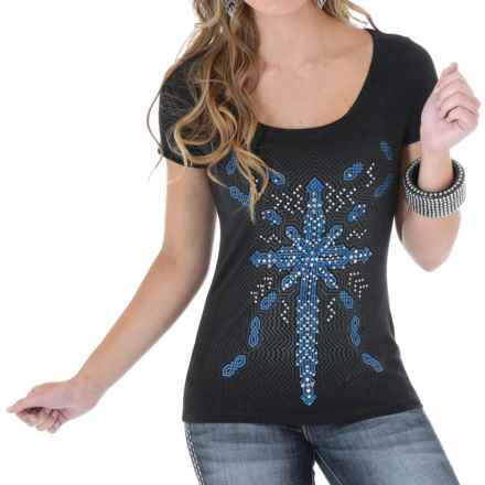Wrangler Printed T-Shirt - Scoop Neck, Short Sleeve (For Women) in Vintage Black - Closeouts