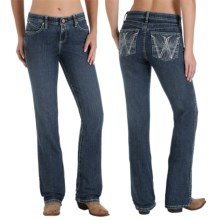 Wrangler Q-Baby Ultimate Riding Jeans - Cowgirl Cut (For Women) in Washed Indigo With Rhinestones - 2nds