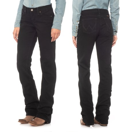 Wrangler Q-Baby Ultimate Riding Jeans - Sits Below the Waiste, Bootcut (For Women) in Black Magic