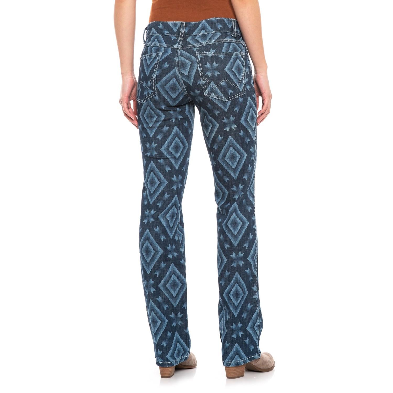 1556bd40 Wrangler Retro Mae Printed Jeans- Mid Rise, Straight Leg (For Women ...