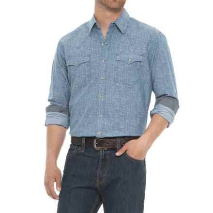 Wrangler Retro Plaid Shirt - Snap Front, Long Sleeve (For Men) in Blue Paisley - Closeouts