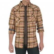 Wrangler Retro Plaid Shirt - Snap Front, Long Sleeve (For Men) in Brown/Red/Tan - Closeouts