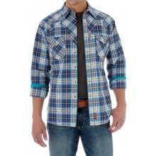 Wrangler Retro Western Shirt - Snap Front, Long Sleeve (For Men) in Blue/Khaki Plaid - Closeouts