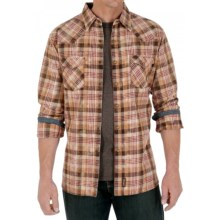 Wrangler Retro Western Shirt - Snap Front, Long Sleeve (For Men) in Tan/Brown Plaid - Closeouts