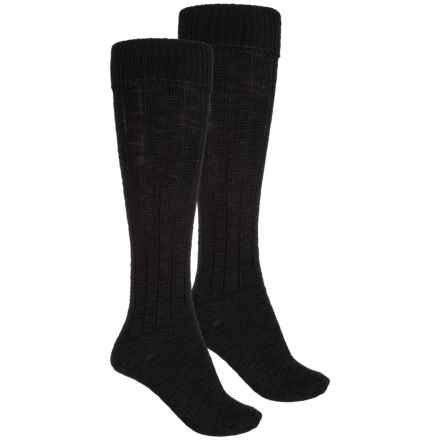 Wrangler Ribbed Knee Socks - 2-Pack, Over the Calf (For Women) in Black - Closeouts