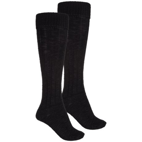 Wrangler Ribbed Knee Socks - 2-Pack, Over the Calf (For Women) in Black
