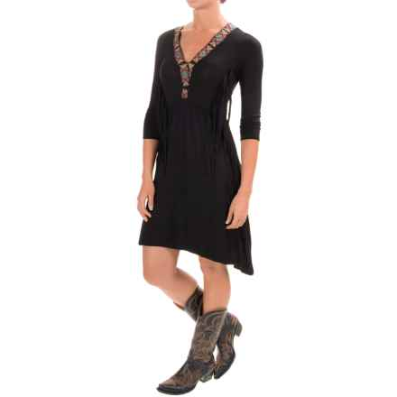 Wrangler Rock 47 Applique Dress - V-Neck, 3/4 Sleeve (For Women) in Black - Closeouts