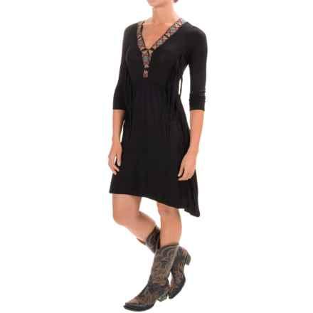 Wrangler Rock 47 Applique Dress - V-Neck, 3/4 Sleeve (For Women) in Black - Closeouts