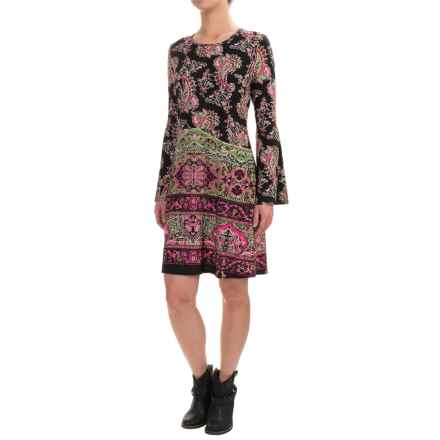 Wrangler Rock 47 Babydoll Dress - Long Sleeve (For Women) in Black/Fuchsia - Closeouts