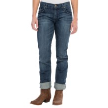 Wrangler Rock 47 Boyfriend Fit Jeans - Mid Rise, Straight Leg (For Women) in Washed Indigo W/Pocket Stitch Detail - 2nds