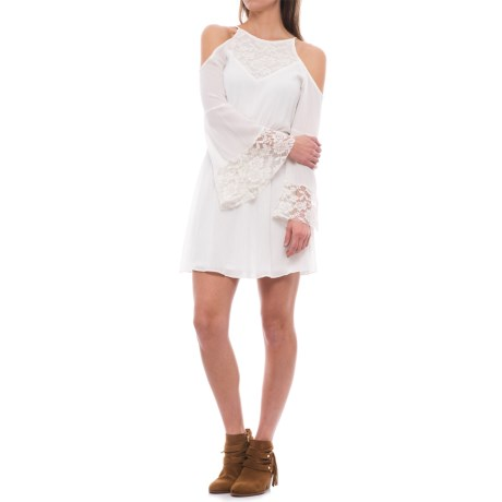 Wrangler Rock 47 Cold-Shoulder Lace Dress - Long Sleeve (For Women) in White