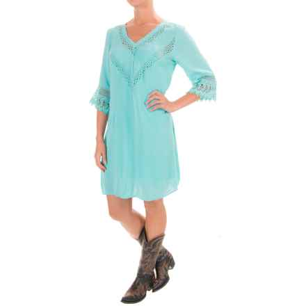 Wrangler Rock 47 Crochet-Trimmed Dress - 3/4 Sleeve (For Women) in Turquoise - Closeouts