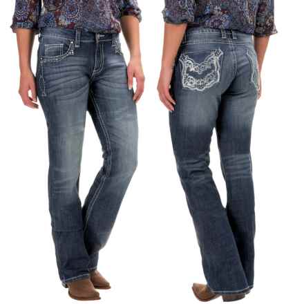 Wrangler Rock 47 Embellished Jeans - Bootcut, Low Rise (For Women) in Mf Wash - 2nds