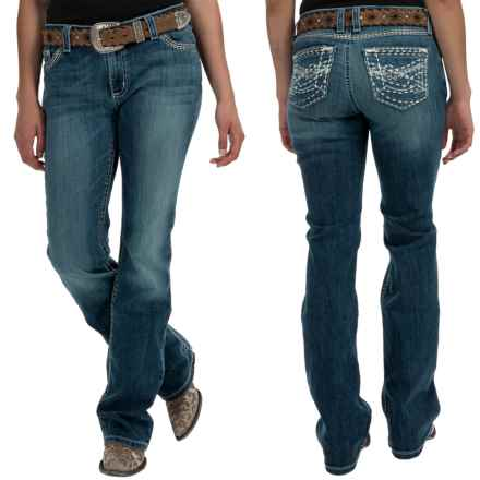 Wrangler Rock 47 Embellished Jeans - Bootcut, Low Rise (For Women) in Ng Wash - 2nds