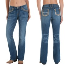 Wrangler Rock 47 Embellished Jeans - Bootcut, Low Rise (For Women) in Tn Wash - 2nds