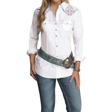 Wrangler Rock 47 Embroidered Shirt - Snap Front, Long Sleeve (For Women) in White - Closeouts