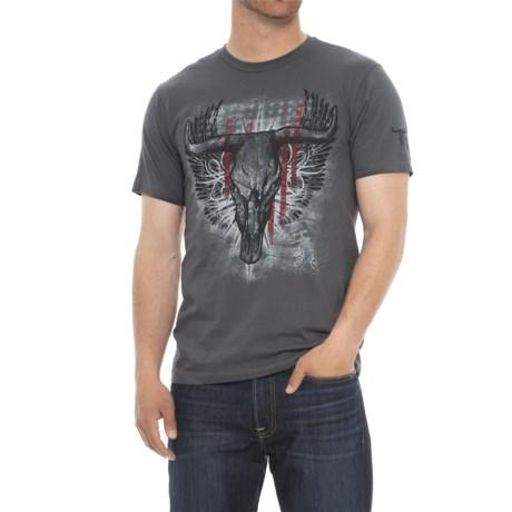 Wrangler Rock 47 Longhorn T-Shirt - Short Sleeve (For Men) in Grey