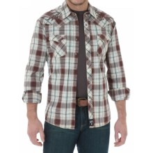 Wrangler Rock 47 Plaid Western Shirt - Snap Front, Long Sleeve (For Men) in Brown/Khaki - Closeouts