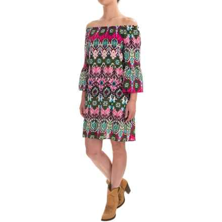 Wrangler Rock 47 Printed Dress - Fully Lined, 3/4 Sleeve (For Women) in Fuchsia/Green - Closeouts