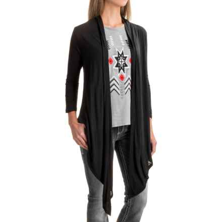 Wrangler Rock 47 Ruched-Back Burnout Cardigan Shirt - Long Sleeve (For Women) in Black - Closeouts