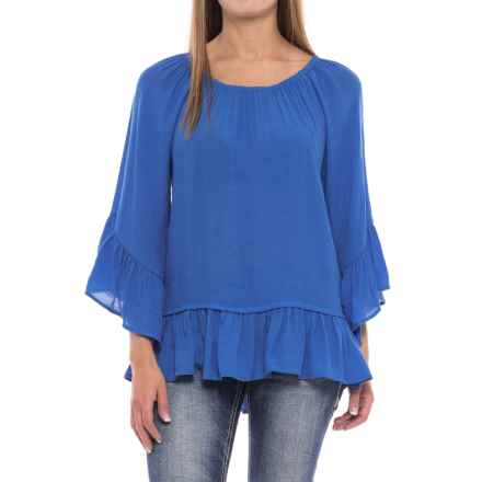 Wrangler Rock 47 Ruffle-Sleeve Peasant Top - 3/4 Sleeve (For Women) in French Blue - Closeouts
