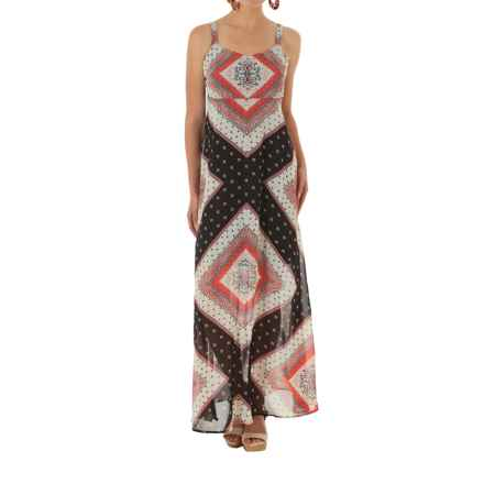 Wrangler Rock 47 Sheer Empire Maxi Dress - Sleeveless (For Women) in Black Multi - Closeouts