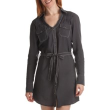 Wrangler Rock 47 Shirt Dress - Y-Neck, Long Sleeve (For Women) in Grey - Closeouts