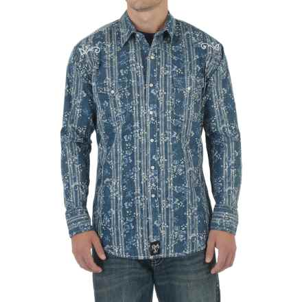 Wrangler Rock 47 Shirt - Snap Front, Long Sleeve (For Men) in Blue Print - Closeouts