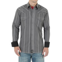 Wrangler Rock 47 Shirt - Snap Front, Long Sleeve (For Men) in Grey/Black Stripe - Closeouts
