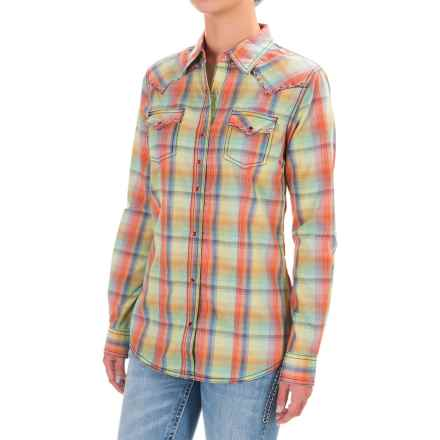 Wrangler Rock 47 Three Snap Shirt - Long Sleeve (For Women) in Lime/Royal/Coral - Closeouts