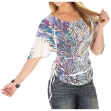 Wrangler Rock 47 Tie Side Shirt - Short Sleeve (For Women) in Grey Multi - Closeouts