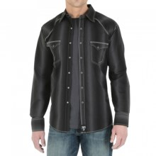 Wrangler Rock 47 Western Shirt - Snap Front, Long Sleeve (For Men) in Black Stripe - Closeouts