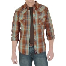 Wrangler Rock 47 Western Shirt - Snap Front, Long Sleeve (For Men) in Brown/Green Plaid - Closeouts